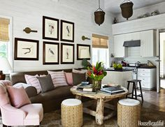 Rustic Naturalism  DesignerAmanda Lindrothgave thisBahamian barn apartmenta rustic vibe with this symmetrical collection of avian prints from English naturalistMark Catesby(found atJ.Pocker) hung in a cluster over a De La Renta sofa fromCentury Furniture.Photography by Francesco Lagnese