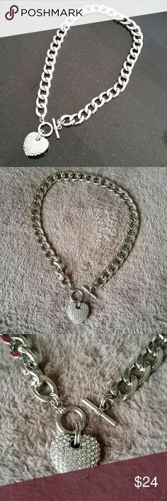 "Great quality! Bling Heart Choker Necklace Heart choker 15"" long chain. Heavy! Jewelry Necklaces"