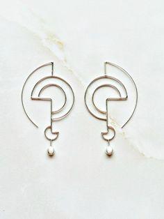 Silver Geometric Earrings, Sculpted Organic Silver Earrings, Classy Jewelry etsy