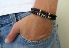 Men's Bracelet - Men's Bracelet Set - Men's Gemstone Bracelet - Mens Jewelry - Men's Beaded Bracelet - Mens Cool Jewelry  Looking for a gift for your man? You've found the perfect item for this!  The simple and beautiful bracelet set combines 2 gemstone bracelet: 2 black Onyx Bracelets $59