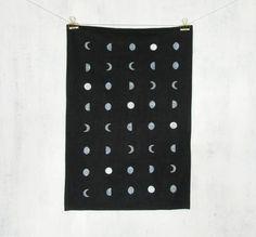 Black Moon Phases Linen Tea Towel / Black White Lunar Print Geometric Moons Kitchen Towel Linen Napkin Dish Towel Flour Sack Hostess Gift