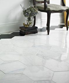 Hexagon Misty Fjord Polished Topps Tiles Now x Code 630551 toppstiles Tiled Hallway, Hallway Flooring, Kitchen Flooring, Marble Floor Kitchen, Bathroom Floor Tiles, Tile Floor, Large Floor Tiles, Loft Bathroom, Family Bathroom