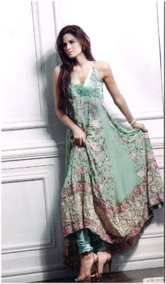 Light Mint Anarkalj with floral print Item code: S13MA1
