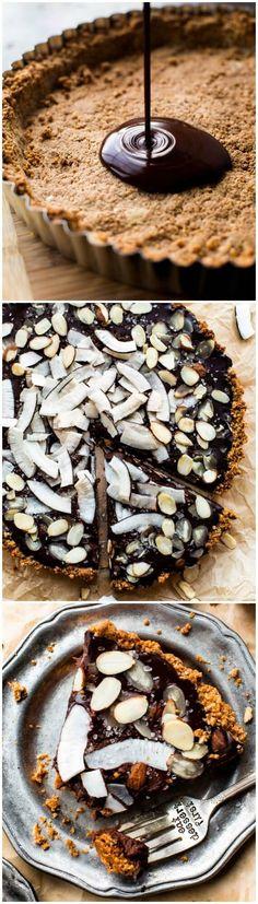 7 ingredient gluten free and vegan creamy chocolate coconut tart! So easy! Recipe on sallysbakingaddiction.com