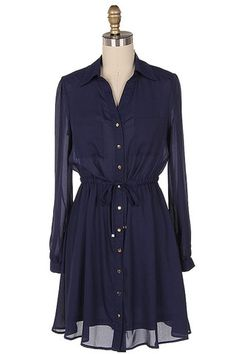 A Sure Thing Shirt Dress - Navy - $40.00 | Daily Chic Dresses | International Shipping