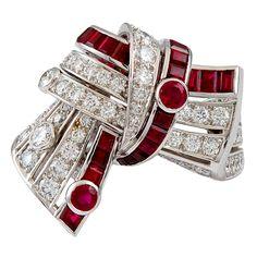 1990s CARTIER Diamond Ruby Ribbon Ring