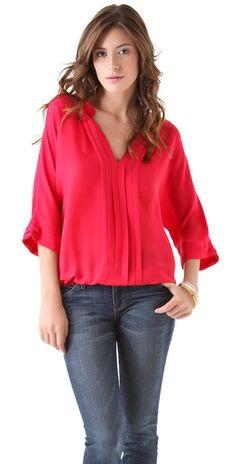 Joie Marru silk blouse top with sleek shutter pleats and a flattering V neckline