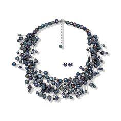 Set Valero Pearls Bogăție de Perle Negre Indigo (cercei, colier)