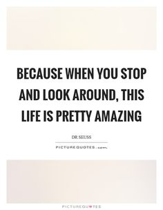 Because when you stop and look around, this life is pretty amazing. Picture Quotes.
