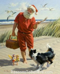 "Fun Seekers  - canvas giclee print.  Santa Beach Giclee featuring Santa, a couple of elves and a dog playing fetch merrily in the sand. This Santa Claus print uses the giclee printing process (fade resistant archival inks and special printers) to allow our prints to look as close to Tom Brownings original oil painting as possible. The canvas print is then stretched and mounted to an archival quality board, 1/4 inch thick, and measures 11"" X 14""."