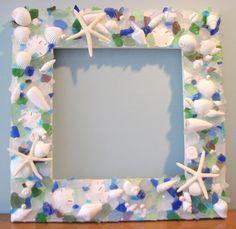 sea glass and sea shell frame! Seashell Frame, Seashell Art, Seashell Crafts, Starfish, Ocean Crafts, Sea Glass Crafts, Sea Glass Art, Glass Beach, Crafts To Do