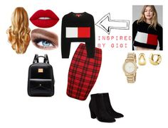 """""""Inspired by Gigi Hadid for Tommy Hilfiger"""" by miss-br4t ❤ liked on Polyvore featuring WearAll, Tommy Hilfiger, Billini, Lime Crime, Maybelline, DKNY and BERRICLE"""