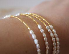 Pearl and gold Bracelet  Wedding Jewelry  by lizaslittlethings, $18.00