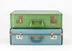 Vintage Teal Blue Wayfarer Suitcase Mid Century by tawneyvintage, $48.00