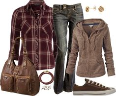 """Casual Brown and Burgundy"" by amy-phelps on Polyvore"