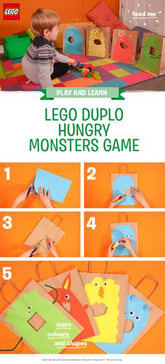 This is a simple and fun color-sorting activity, which helps develop your pre-schooler's fine motor skills. All you need is x4 brown paper bags or cereal boxes, x4 sheets of different colored paper, a selection of LEGO DUPLO bricks (in matching colors), scissors, a pencil, glue, googly eyes, and some pipe cleaners. Stick scary monster faces onto the paper bags and cut out mouth holes, then challenge your little one to feed the monsters with the matching colored LEGO DUPLO bricks.