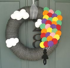 Yarn Wreath Felt Handmade Yarn Wreath  Up & Away 12in by ItzFitz, $45.00