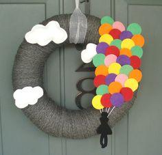 Yarn Wreath Felt Handmade Yarn Wreath  Up  Away 12in by ItzFitz, $45.00