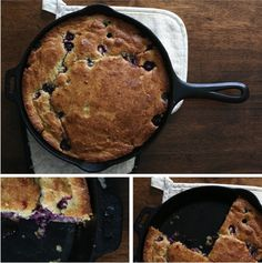 Blueberry Skillet Cake  We spend some time each summer gathering sun ripened berries and stowing them away in the freezer. They're a delightful reminder of summer during these cold dark winter months. Our freezer is currently stocked full of blueberries, blackberries and wild black raspberries.