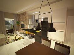 Detalhe para a integração dos espaços e pendente na sala de jantar da Reka. #salajantar #salaestar #sala #living #bancada #granito #cozinha #kitchen
