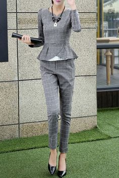 Elegant V-Neck Plaid Long Sleeve Blouse and Pants Suit For Women