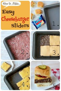 Easy Cheeseburger Sliders - Ryan's Mom made these, froze them, heated them in the microwave and they were YUMMY! Perfect for something quick or just a snack! Think Food, I Love Food, Good Food, Yummy Food, Cheeseburger Sliders, Cheeseburger Pasta, Do It Yourself Food, Great Recipes, Favorite Recipes