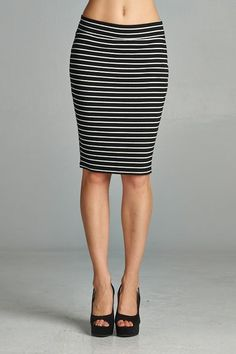 Simple, striped pencil skirt in ribbed fabric that has great stretch. Fitted but very comfortable. Made in USA.  www.cherishusa.com www.fashiongo.net/cherish