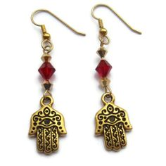 Gold Hamsa and Swarovski Crystal Earrings | $32 #SolanaKaiDesigns  @solanakaidesign