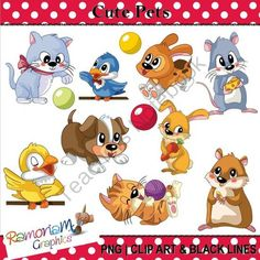 Cute Animals: Pets Clipart from RamonaM Graphics on TeachersNotebook.com -  (34 pages)  - This set contains cute pets having some fun!. Each image is PNG and 300dpi in Black & White, colored with colored outlines and colored with black outlines