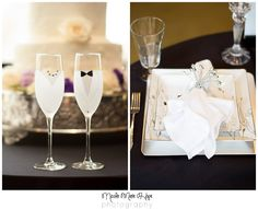 *Must Have Wedding Day Pictures*  Detail Shots  Cute Bride and Groom styled champagne toasting glasses!