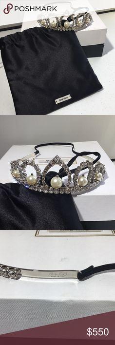 d13dc31275f MIU MIU Silver Tone Pearl   Crystal Headband Tiara Absolutely stunning  tiara