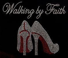 "Walking in Faith  Approximate size 8""L x 9.5""W $14 to purchase or have us make a shirt for you, come see our facebook page  www.facebook.com/iblingiton4u"