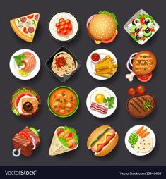 Different tasty food icon set, vector for tattoos Food Design, Game Design, Web Design, Cute Food, Yummy Food, Food Clipart, Food Cartoon, Food Icons, Clip Art
