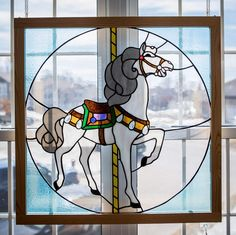 Carousel Horse Judy Miller pattern 30 inches by 30 inches Carousel Horses, Glass Animals, Stained Glass, Pattern, Painting, Art, Projects, Craft Art, Paintings