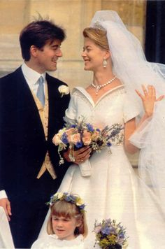Lady Helen Windsor and Timothy Taylor, married 1992.The bride carried a small bouquet of garden flowers which included lavender, cornflowers, rosemary and Vivaldi roses.