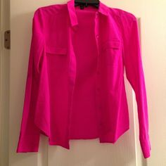 Ann Taylor! Hot-Pink Button Down Shirt Business meets pleasure with this flattering button down shirt in hot pink from Ann Taylor! In great used condition and has front pockets! Beautiful shirt great for standing out at the office (: Ann Taylor Tops Button Down Shirts