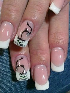 amazing nails... cat nail art ... French manicure