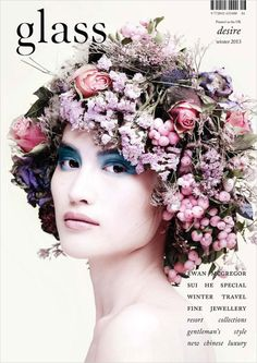 Model: Sui He (New York) Magazine: (Hong Kong) Glass Magazine, Winter 2013 Photographers: Walter Chin (Cover & Billy Nava (Cover . Floral Flowers, Silk Flowers, Floral Crowns, Floral Headdress, Magazine Cover Design, Magazine Covers, Fashion Cover, Floral Fashion, Botanical Fashion
