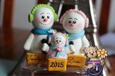 Familia de Muñecos de nieve  #porcelanafría #craft #craft #panamá #507