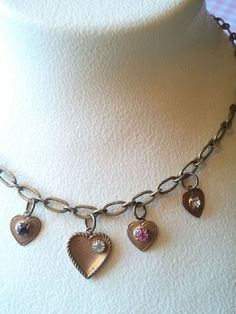 Vintage Charm Necklace  Hearts & by MissShugsJewelryShow on Etsy