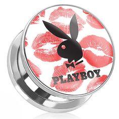 Playboy Playboy Bunny Kiss Print Surgical Steel Screw-On Plug - 00G