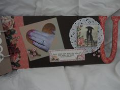 "Front of ""U"" page. Love You album by Connie Hitchcock from a kit by The Crafting Cottage - Painted Post NY"