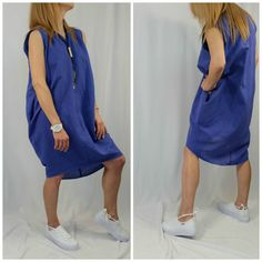 Linen Tunic Dress / Oversize Caftan / Maxi Summer Dress / Violet Linen Top / Party Dress / Casual Top / EXPRESS SHIPPING / LA 1002
