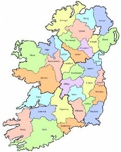 County map of Ireland :: Get started with this online Irish genealogy toolkit!