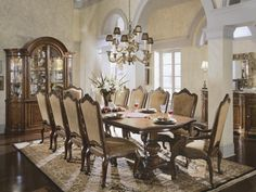 Shop for the Universal Villa Cortina Formal Dining Room Group at Hudson's Furniture - Your Tampa, St Petersburg, Orlando, Ormond Beach & Sarasota Florida Furniture & Mattress Store Classic Dining Room, Luxury Dining Room, Elegant Dining Room, Beautiful Dining Rooms, Dining Room Sets, Dining Room Design, Dining Room Chairs, Dining Room Furniture, Dining Table