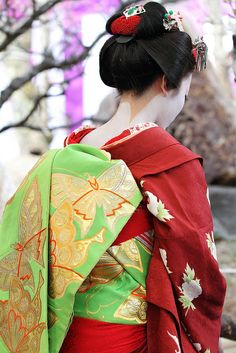Maiko (apprentice geisha) - There are a number of differences between maiko and geiko (fully practicing geisha) in terms of appearance. Maiko wear a furisode (a kimono with notably long, hanging sleeves), have a collar mixed with red and white, and also have a distinctive hairstyle.