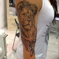 Lion Head Tattoo On The Sleeve                                                                                                                                                                                 More