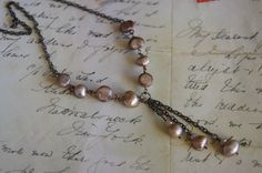 handmade pearl necklace vintage classic boho antique brass tiered FREE SHIPPING #Handmade