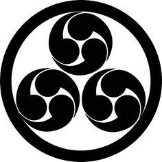 丸に三盛右三つ巴 まるにみつもりもつどもえ Maru ni Mitsu mori mitsu domoe  The design of the 3 Tomoe in the circle.