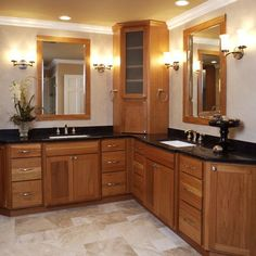 Bathroom Cabinets Corner Unit dual bathroom sinks with middle cabinet | corner vanity design